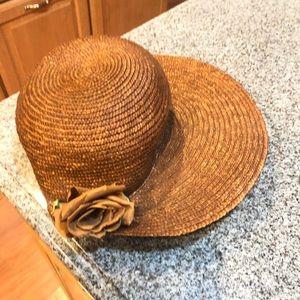 Brown flower straw Kentucky derby flower hat